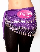 Dark Purple colored belly dancing hip scarf