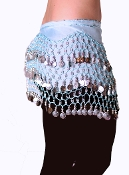 sky blue colored belly dancing scarf