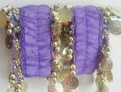 Purple belly dance hip scarf cuffs